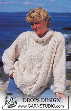 """Ravelry: Jumper with leaf pattern and cables in """"Kid Mohair """". Long or short version. pattern by DROPS design Jumper Patterns, Drops Patterns, Sweater Knitting Patterns, Crochet Patterns, Knitting Charts, Free Knitting, Knitting Ideas, Drops Design, Jumpers For Women"""