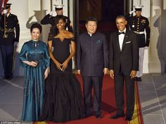 A powerhouse line-up of diplomacy, big business and even Hollywood made President Obama's guest list for tonight's state dinner to honor the visit of Chinese president Xi Jinping (Presidents pictured with respective wives Michelle and Peng Liyuan)