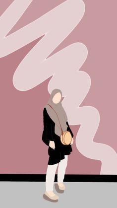 Cute Wallpaper Backgrounds, Cute Cartoon Wallpapers, Cute Illustration, Graphic Design Illustration, Girl Cartoon, Cartoon Art, Cover Wattpad, Hijab Drawing, Islamic Cartoon