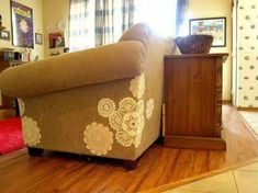 Patch a couch with doilies and lace