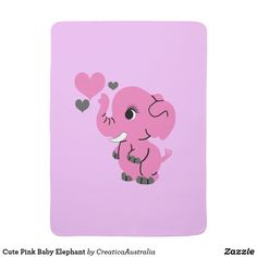 Cute Pink Baby Elephant Baby Blanket