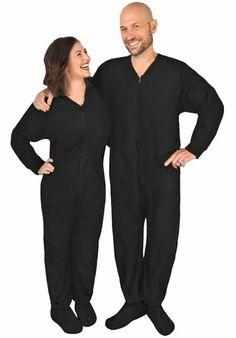 Black Polar Fleece Footed Pajamas with Drop Seat, 44.95 pajama city