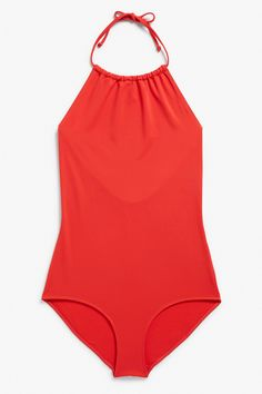 Monki Image 1 of Halter swimsuit  in Red Yellowish