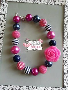 NAVY Blue and PINK FLOWER Chunky Necklace- Chunky bubblegum necklace, Girls chunky necklace, Gumball necklace, Chunky beaded necklace on Etsy, $17.50