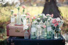 Vintage Bottles + Puffy Peony #WeddingDecor #WeddingCenterpieces I Greer G Photography