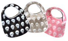 Baby Skulls Bibs - Shades of Black, Grey and Pink - set of 3 bibs by MommysLittleRockStar on Etsy https://www.etsy.com/listing/171715641/baby-skulls-bibs-shades-of-black-grey