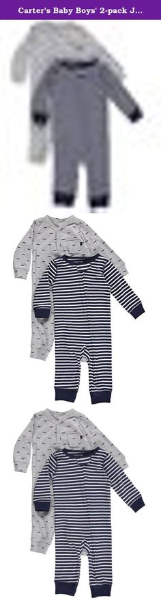 Carter's Baby Boys' 2-pack Jumpsuit Set (9 Months, Navy/Grey). Getting dressed is easy with a 2-pack of jersey jumpsuits! Comfy enough for all-day wear, these 1-piece outfits feature henley styling and cool prints. Pack includes 2 printed cotton jumpsuits Cotton rib is comfortable for all-day wear Nickel-free snaps on reinforced panels for easy changes.