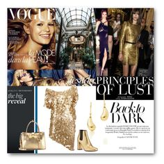 """#In Gold Ww Trust"" by nikkisg ❤ liked on Polyvore featuring Yves Saint Laurent, Brian Lichtenberg, Elsa Peretti, Miu Miu and gold"