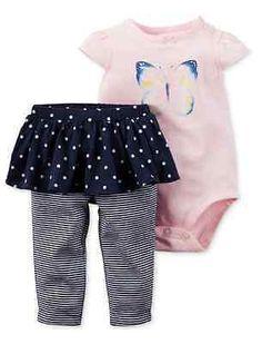 Carter's Baby Girl 2 Piece Butterfly Bodysuit & Tutu Pants Set (NWT)