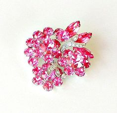 Eisenberg Ice Pink Rhinestone Brooch 1950s Paved Ribbons of Ice