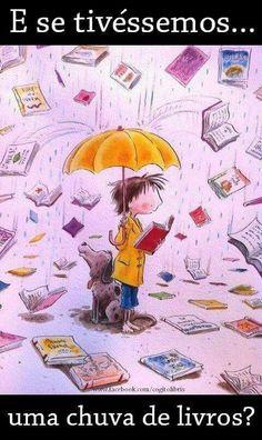 Chuva de livros.