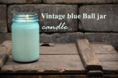 Old Blue Ball jars recycled into soy candles...  antiquecandleworks.com
