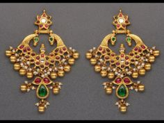 Temple Earrings in Gold with Cabochon Rubies and Emeralds. Shop for your wedding jewellery with Bridelan - a personal shopper & stylist for weddings, also a resource for finding rare jewels of India. India Jewelry, Temple Jewellery, Gold Jewellery, Silver Jewelry, Gold Earrings Designs, Necklace Designs, Gold Designs, Indian Jewellery Design, Jewelry Design
