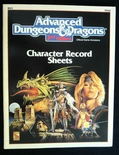 Character Record Sheets 2nd Edition - REF2 - Dungeons & Dragons 1989