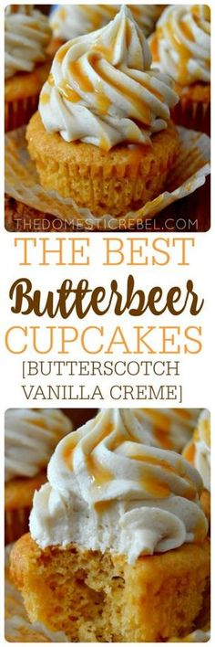 Do I put this under desserts or Harry Potter? The BEST Butterbeer Cupcakes - tender, moist butterscotch vanilla creme cupcakes topped with a brown sugar & butterscotch buttercream and caramel drizzle. For Harry Potter fans. and cupcake lovers! No Bake Desserts, Just Desserts, Delicious Desserts, Dessert Recipes, Yummy Food, Unique Cupcake Recipes, Cupcake Flavors, French Desserts, Party Desserts