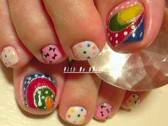 Multi color & patterned toe nails Nail Art