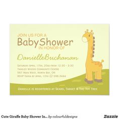 Shop Cute Giraffe Baby Shower Invitation created by colourfuldesigns. Baby Shower Giraffe, Cute Giraffe, Zazzle Invitations, Baby Shower Invitations, Toy Trees, Colourful Designs, Rsvp, Messages, Fun