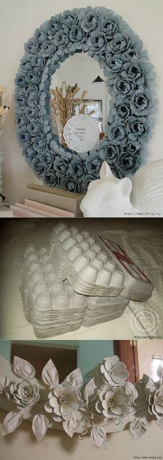 Egg Carton Ideas - Informations About Ideas con Cartón de Huevos Pin You can easily use my profil - Flower Crafts, Diy Flowers, Paper Flowers, Organza Flowers, Diy And Crafts, Arts And Crafts, Paper Crafts, Diy Projects To Try, Craft Projects