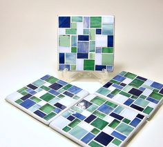 Stained glass mosaic coaster set steal blue by threesisterscandles, $25.00