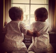 """""""It's a big world out there but I've got your back, sis!"""" My twins, Charlotte and Olivia"""