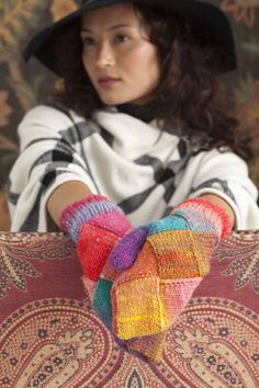 Entrelac Mittens knitting pattern by Holli Yeoh in Noro Kureyon Knit Mittens, Knitted Gloves, Knitting Socks, Editor Of Vogue, Flap Hat, Tiny Gifts, Vogue Knitting, Knit Picks, Knit Fashion