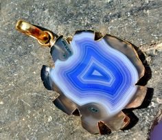 57x35mm Blue Agate Carved Pendant with Gold by RareGemsNJewels