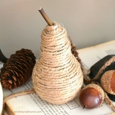 Love an upcycle? Make twine-wrapped pears for fall from old light bulbs!