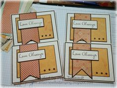 """airbornewife's stamping spot: 30 cards complete """"I MISS YOU, YOU MEAN THE WORLD TO ME, LOVE ALWAYS, I LOVE YOU"""" from one 6 x 6 paper pad"""