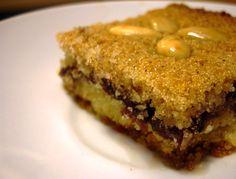 libyan food: Semolina Cake with Date filling: Basbousa bil Tamr بسبوسة بالتمر