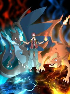 Red and his Charizards ♥ Whitch one do you prefer? Charizard ? Charizard mega Y ? Charizard mega X ?