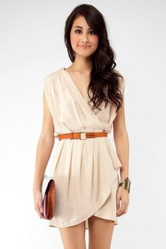 New Colors on the Block Belted Dress in Taupe $48 at www.tobi.com