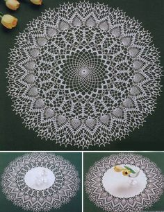 Three beautiful circular lace doily with pineapple edge to crochet! More Great Looks Like This