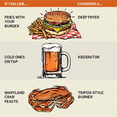 If you like: Fries with your burgerConsider: A deep fryer. Large capacity handles finger foods and the Thanksgiving bird. About $140; Bed Bath & BeyondIf you like: Cold ones on tapConsider: A kegerator. A keg on wheels that moves the party right to the grill. About $495; AmazonIf you like: Maryland crab feastsConsider: A tripod-style burner.High firepower boils deep pots of crustaceans. About $49; Cajun Grocer