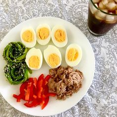 Quick lonely lunch - iced coffee, canned tuna, boiled eggs, red bell pepper a. Boiled Eggs, Iced Coffee, Bagel, Tuna, Seafood, Stuffed Peppers, Fish, Breakfast, Ethnic Recipes