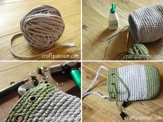 DIY: drawstring bag made from t-shirt yarn