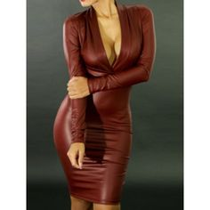 Faux Leather Packet Buttock Sexy Style Plunging Neck Long Sleeve Women's Dress