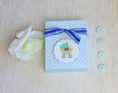 Blue baby bib box  - lovely baby gift just in time for baby's first Christmas.  Click through to my shop MyWildeHeartUK38.etsy.com