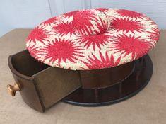 "Vintage Sewing Notion Box Pin Cushion Thread Storage Case 12"" Round Folk Art Mod"