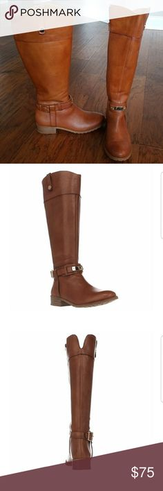 INC Brown leather wide calf riding boot Gorgeous pair of leather wide calf riding boots with gold detail. INC fabbaa in wheat. Worn only once in doors. Comes with original box. INC International Concepts Shoes Over the Knee Boots