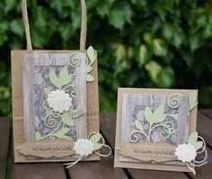 Flower Bundle Gift Bag and Mini Card Ensemble by Christine Emberson