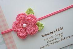 Ganchillo diadema flor en rosa perla diademas por MyMondaysChild