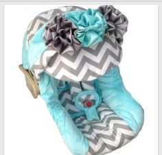 Baby Blue,White&Gray Chevron CarSeat For A BabyGirl