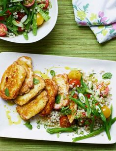 Halloumi with runner bean, tomato and mint couscous - the perfect summery lunch