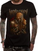 Officially licensed Lamb Of God T-shirt design printed on a Blue 100% cotton short sleeved women's fitted T-shirt.