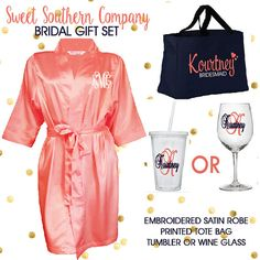 Bridesmaid Personalized Robe, Tote and Tumbler OR Wine Glass Gift Set
