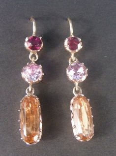 Golden topaz, pink topaz and garnet foiled earrings Georgian c. 1780 . 32mm x 6mm,  Topaz is a brazilian stone and highly prized  DBGEMS (#0556)