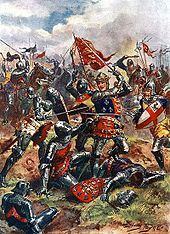1915 depiction of Henry V at the Battle of Agincourt : The King wears on this surcoat the Royal Arms of England, quartered with the Fleur de Lys of France as a symbol of his claim to the throne of France.