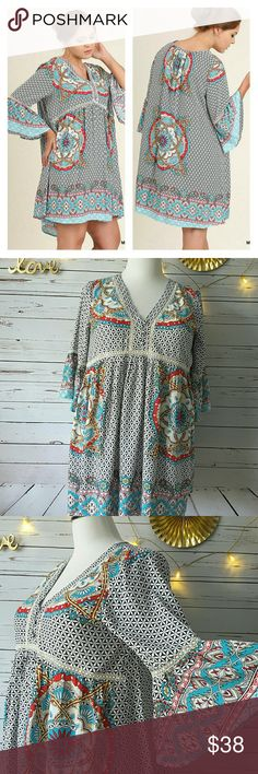 """V-Neck Boho Mini or Tunic with Bell Sleeves This exceptionally pretty, ready for spring dress has an all over geo pattern in white against black and  large vibrant medallions in turquoise, cherry red and pale yellow. It also features a crochet inset along and under the bustline and around the bell sleeves which are 3/4 length. Fabric content: 60% cotton/ 40% polyester. This is a generously sized baby doll style. XL will fit sizes 14/16. MEASUREMENTS: XL: B 23""""  L 36""""   BOUTIQUE PRICES ARE…"""