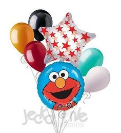 7 pc Elmo Portrait Balloon Bouquet Party Decoration Happy Birthday Sesame Street