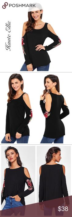 Cold Shoulder Rose  Appliqué Sleeve  Cold Shoulder Rose  Appliqué Sleeve: Beautiful Rose Sleeve Appliqué  94% rayon, 6% spandex Fabric has stretch  Price is firm unless bundled Haute Ellie Tops Tees - Long Sleeve
